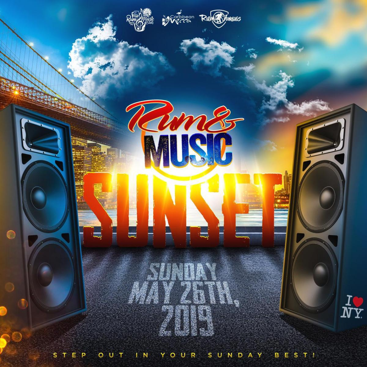 Rum and Music SUNSET flyer or graphic.