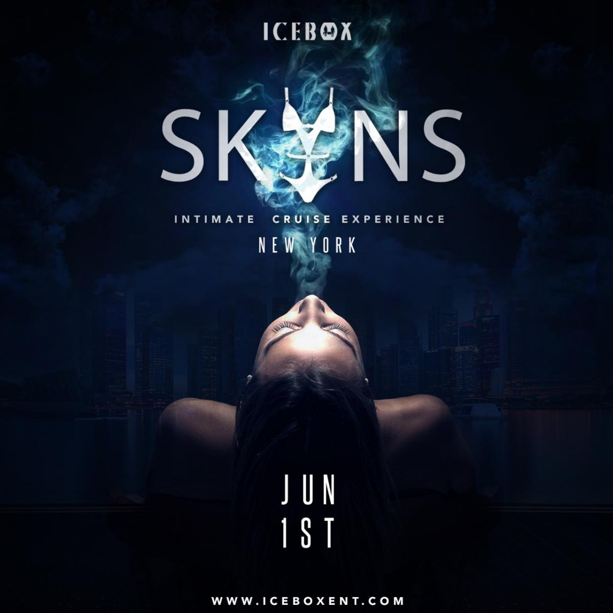 SKINS flyer or graphic.