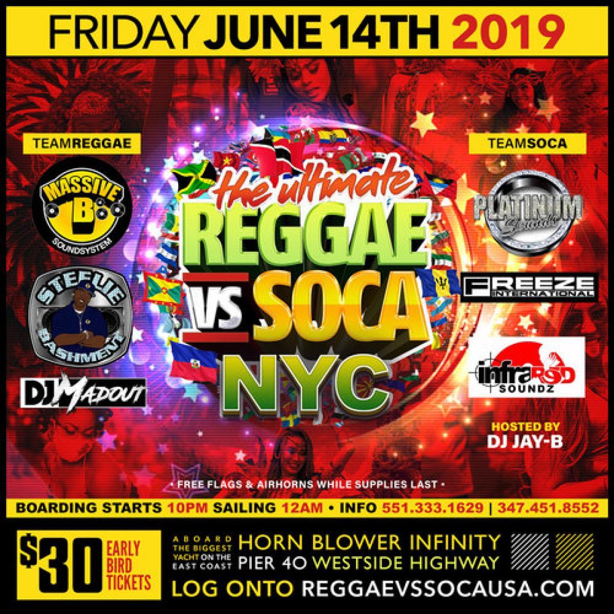 The Ultimate Reggae vs Soca flyer or graphic.