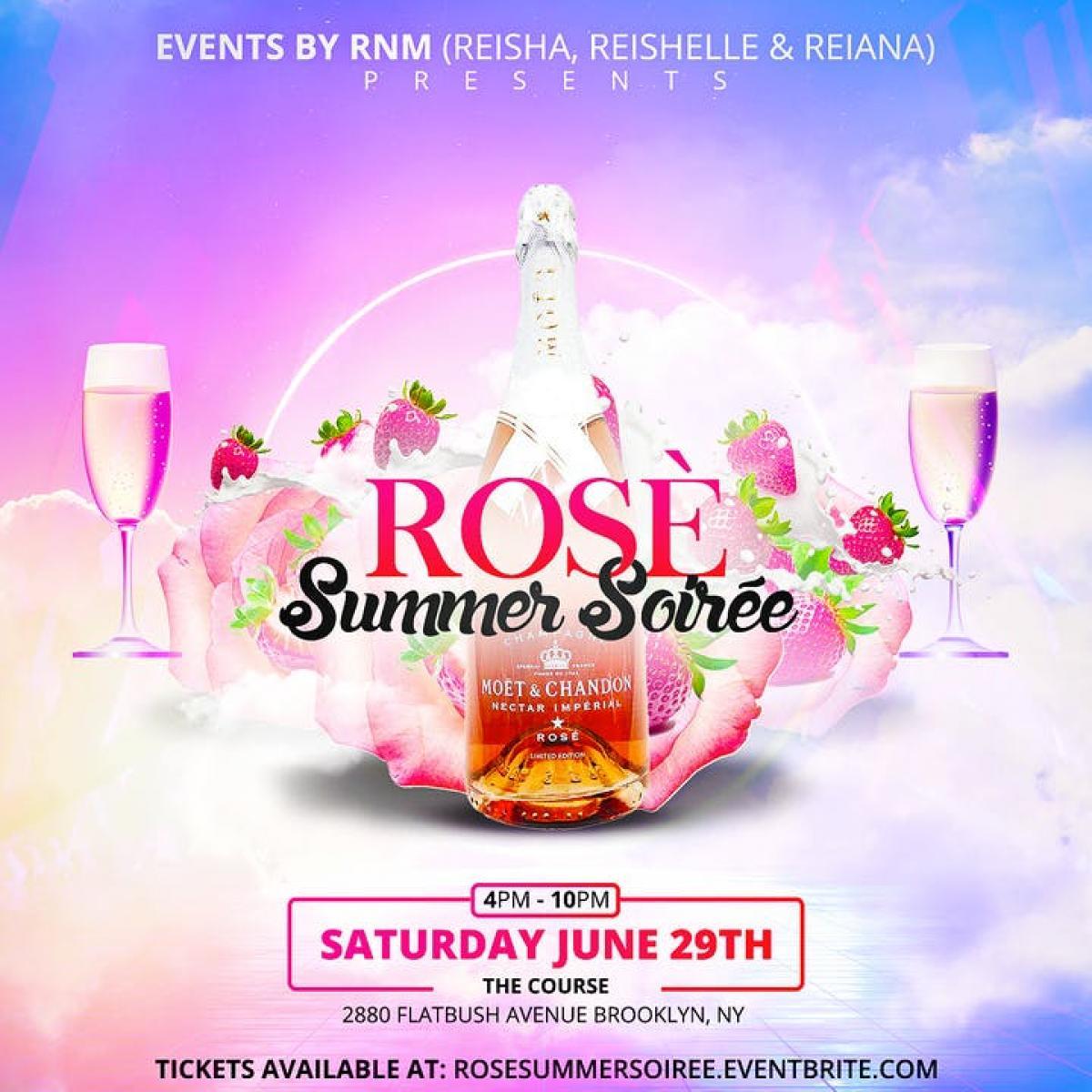 Rosè Summer Soirée flyer or graphic.