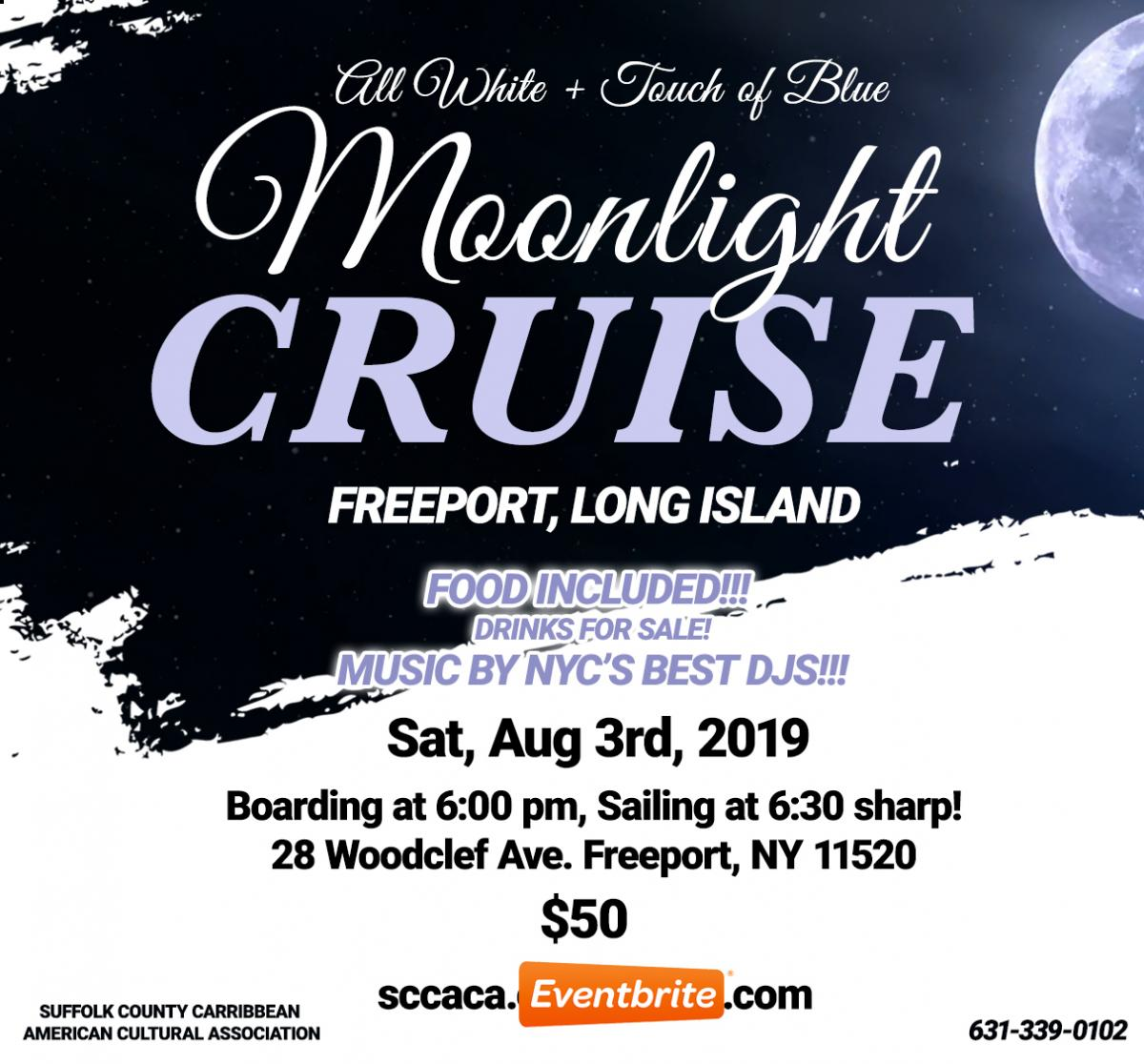 Long Island Moonlight Cruise flyer or graphic.
