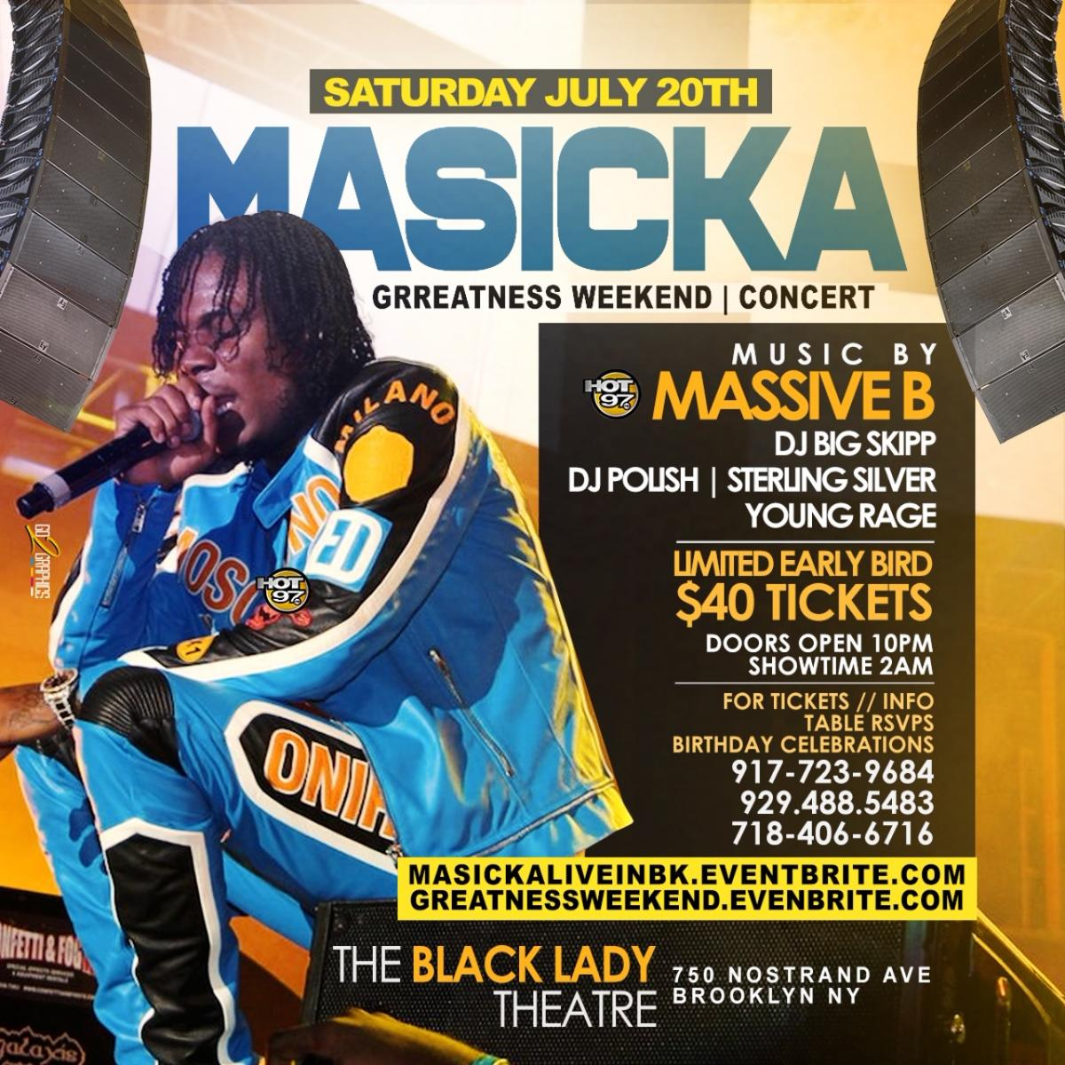 """""""Masicka & Friends"""" flyer or graphic."""