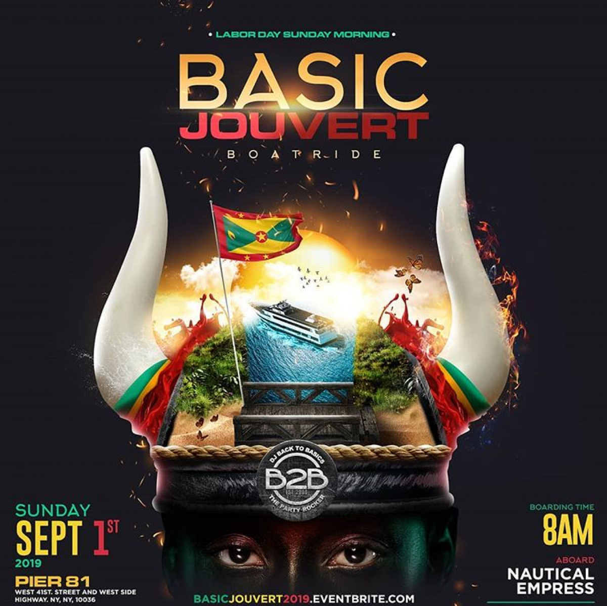 B2B Jouvert Boatride flyer or graphic.