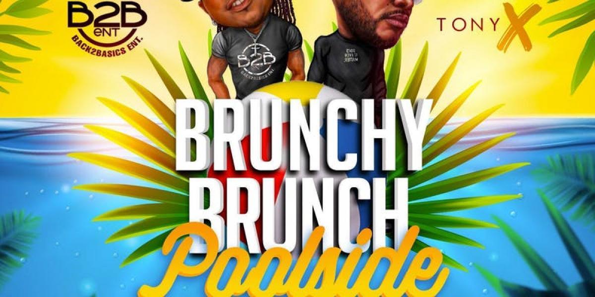 Brunchy Brunch: Poolside flyer or graphic.