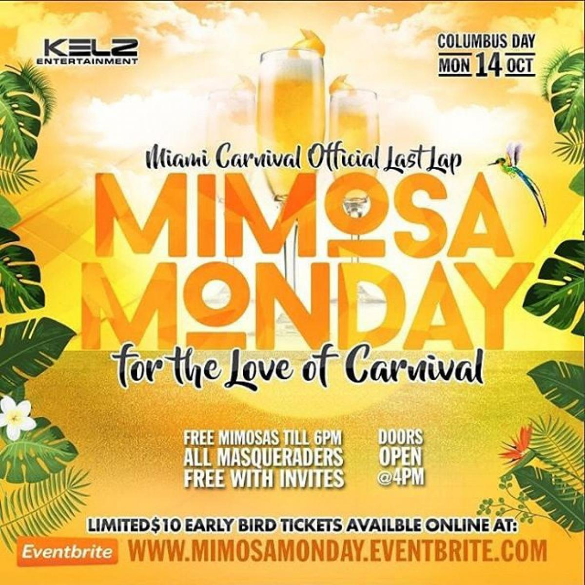 Mimosa Monday flyer or graphic.