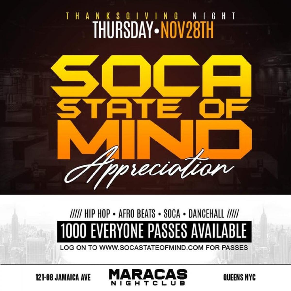 Soca State of Mind Appreciation flyer or graphic.
