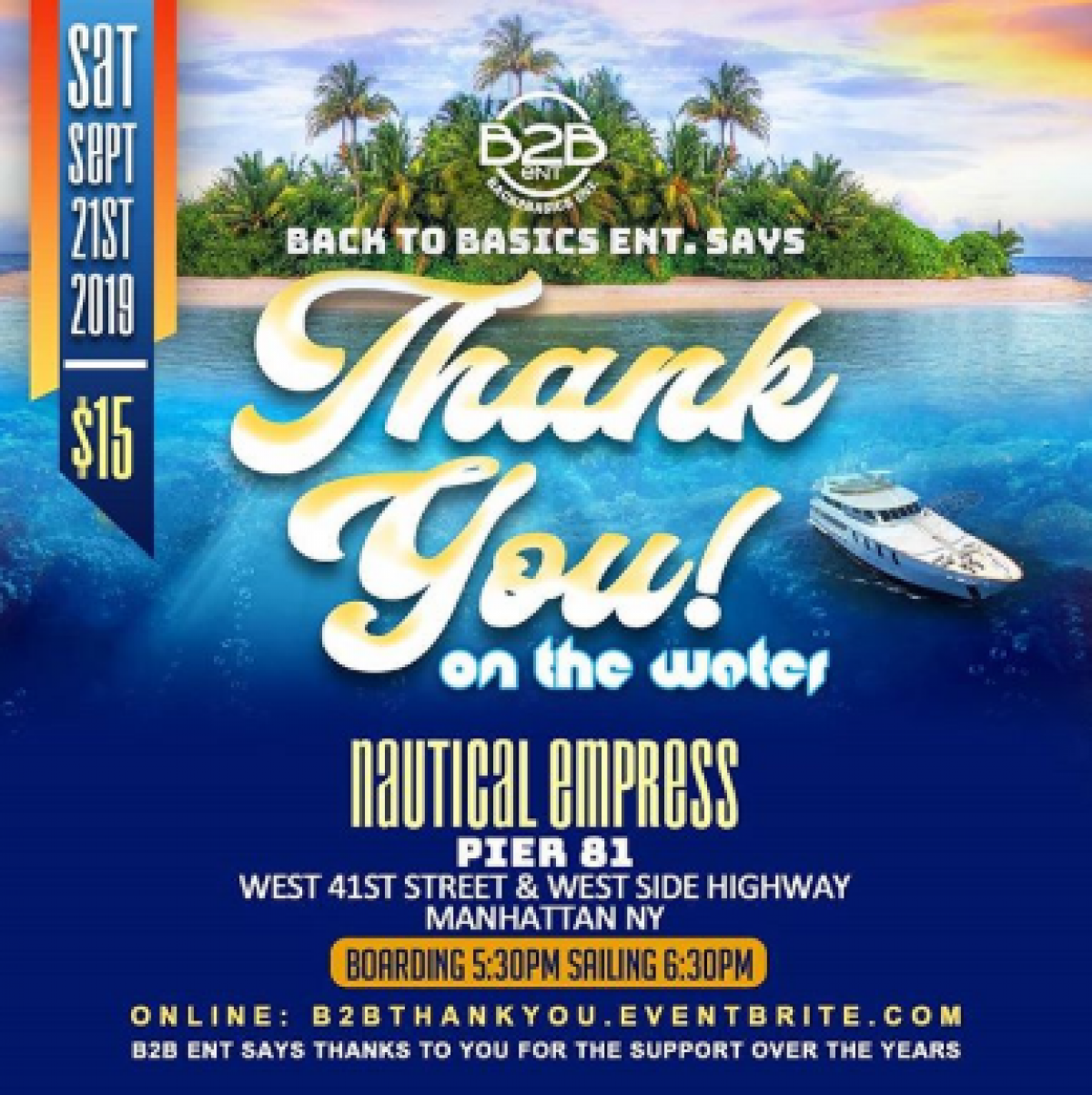 Thank You On The Water flyer or graphic.
