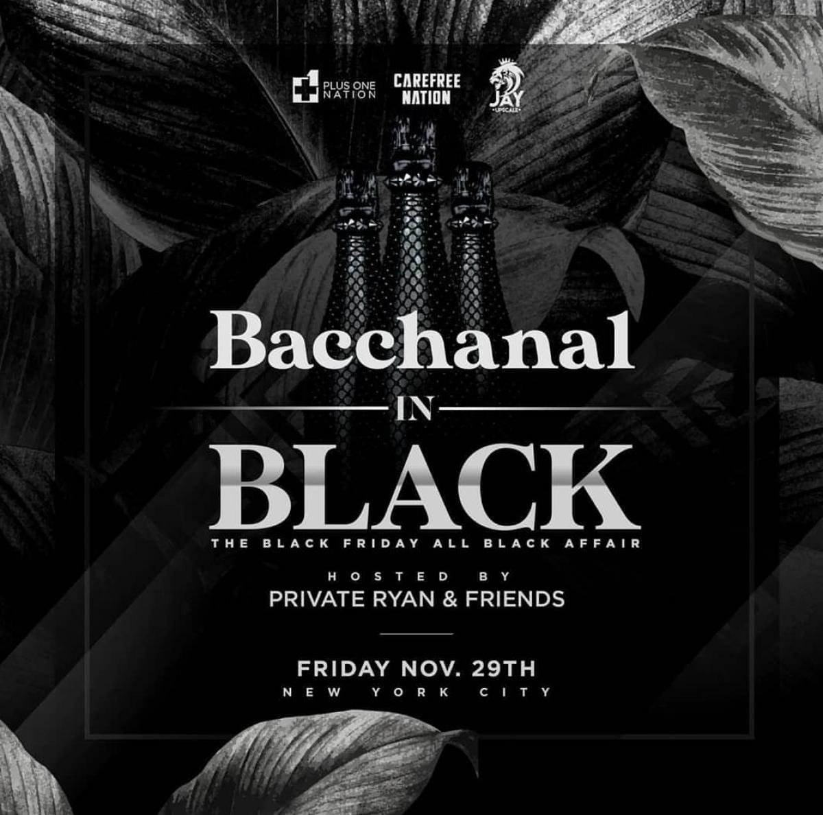 Bacchanal In Black flyer or graphic.