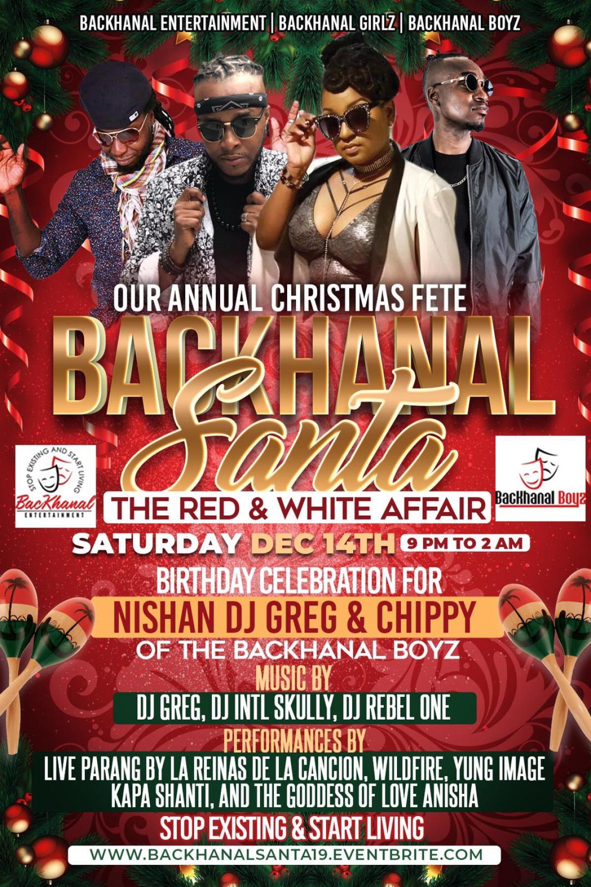 Backhanal Santa flyer or graphic.