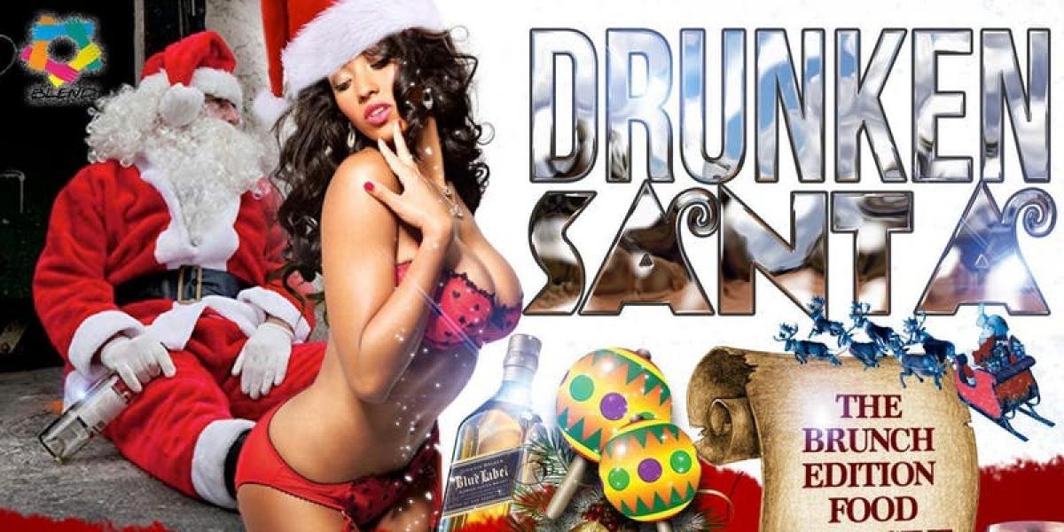 Drunken Santa flyer or graphic.