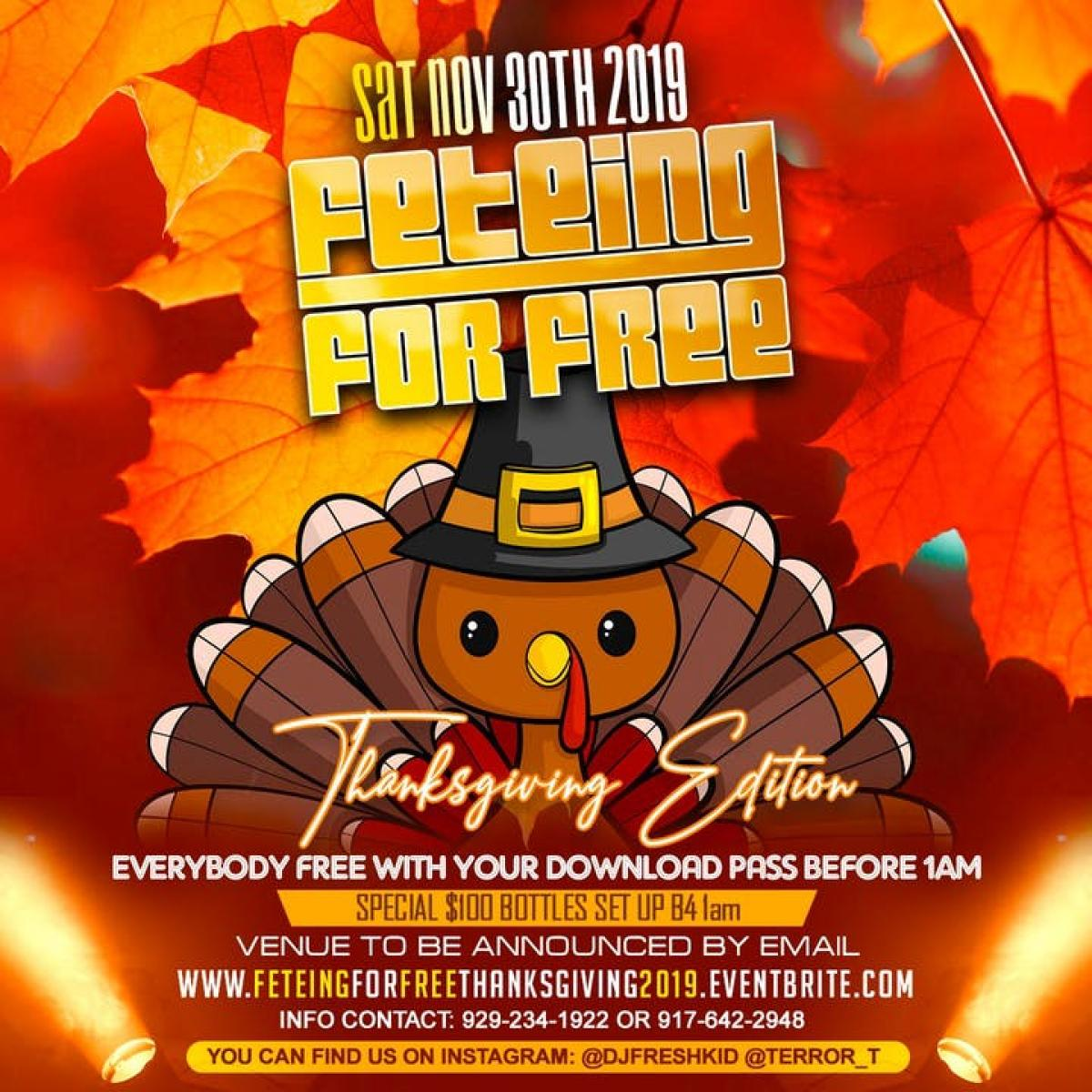 Feteing For Free Thanksgiving 2019 flyer or graphic.