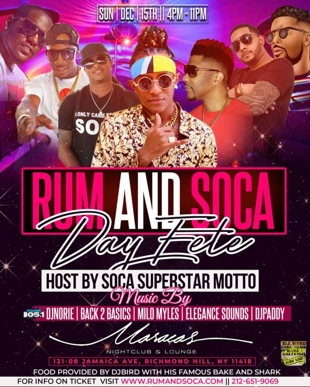 Rum & Soca W  Soca Superstar Motto flyer or graphic.