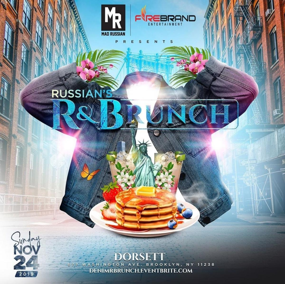 Russian's R & Brunch flyer or graphic.