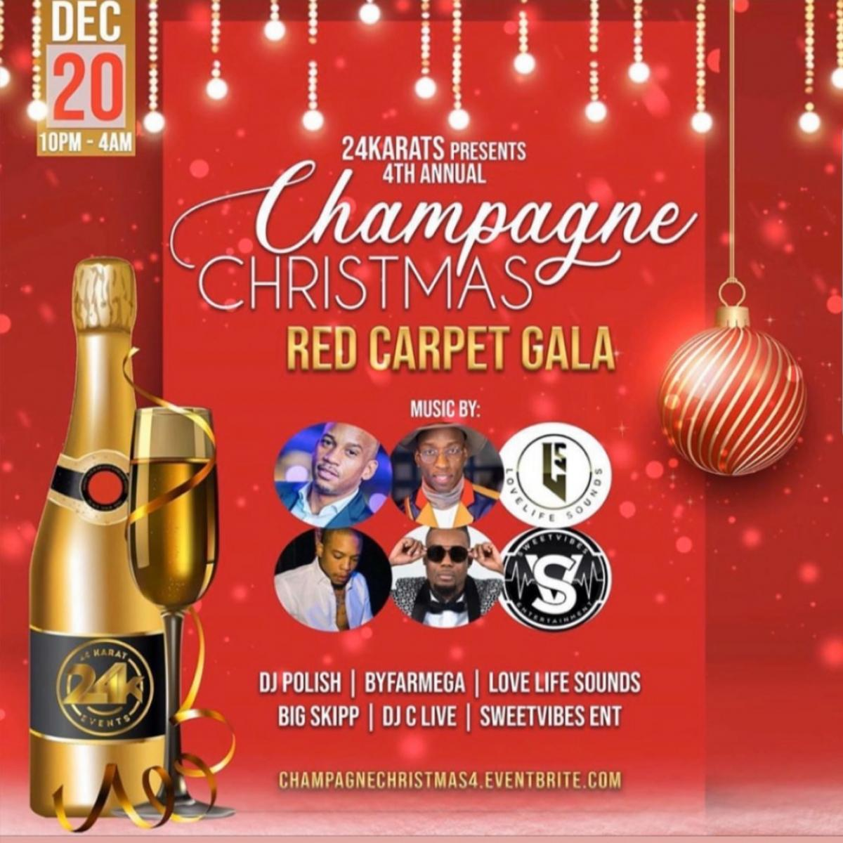 Champagne Christmas: Red Carpet Gala flyer or graphic.